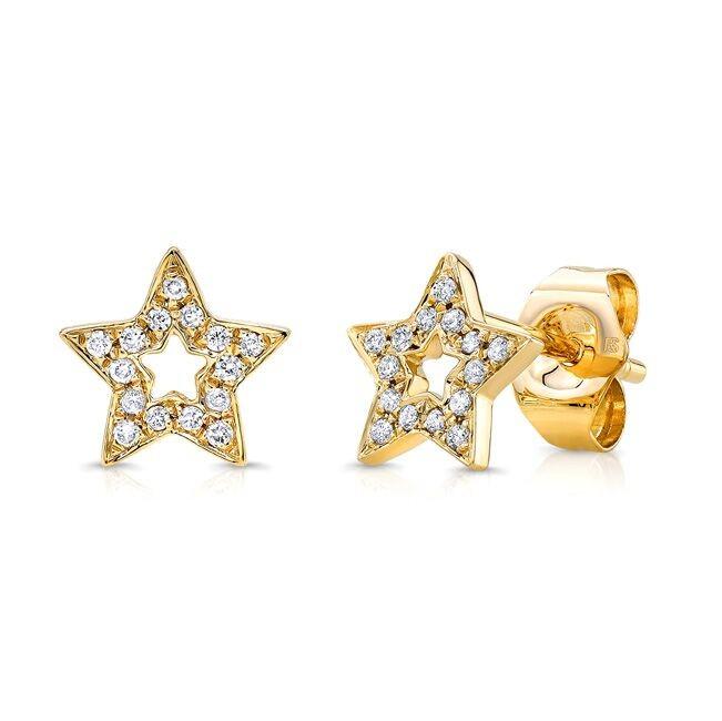 14k Yellow Gold Diamond Cut Out Star Stud Earrings