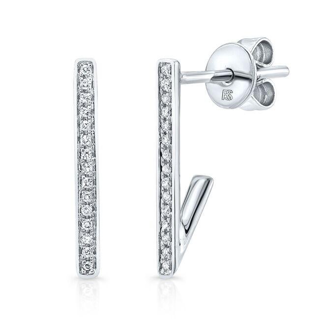 14K White Gold Diamond Huggie Bar Earrings