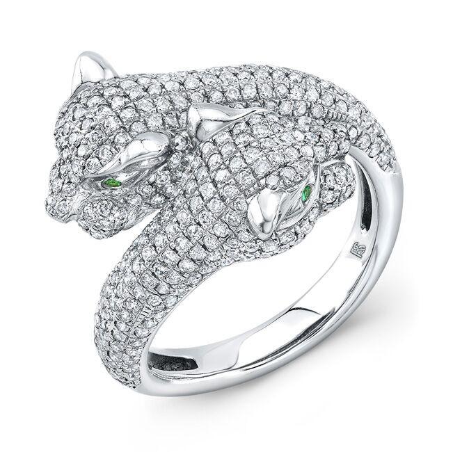 561b79aab7759 14k White Gold Diamond Emerald Panther Ring
