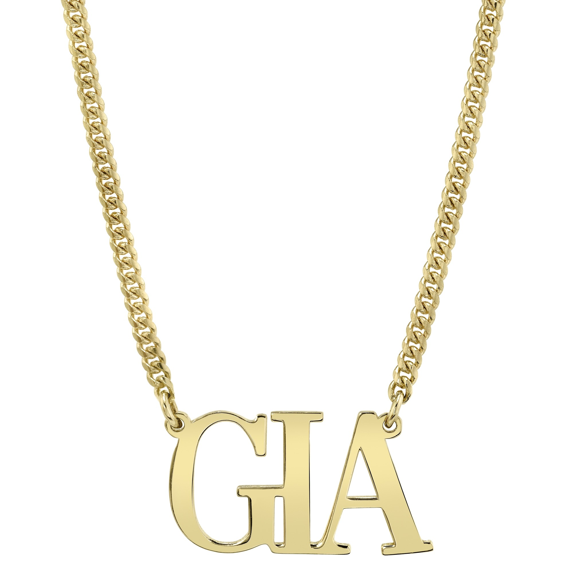 14k Yellow Gold Personalized Mini Cuban Link Large Nameplate Necklace