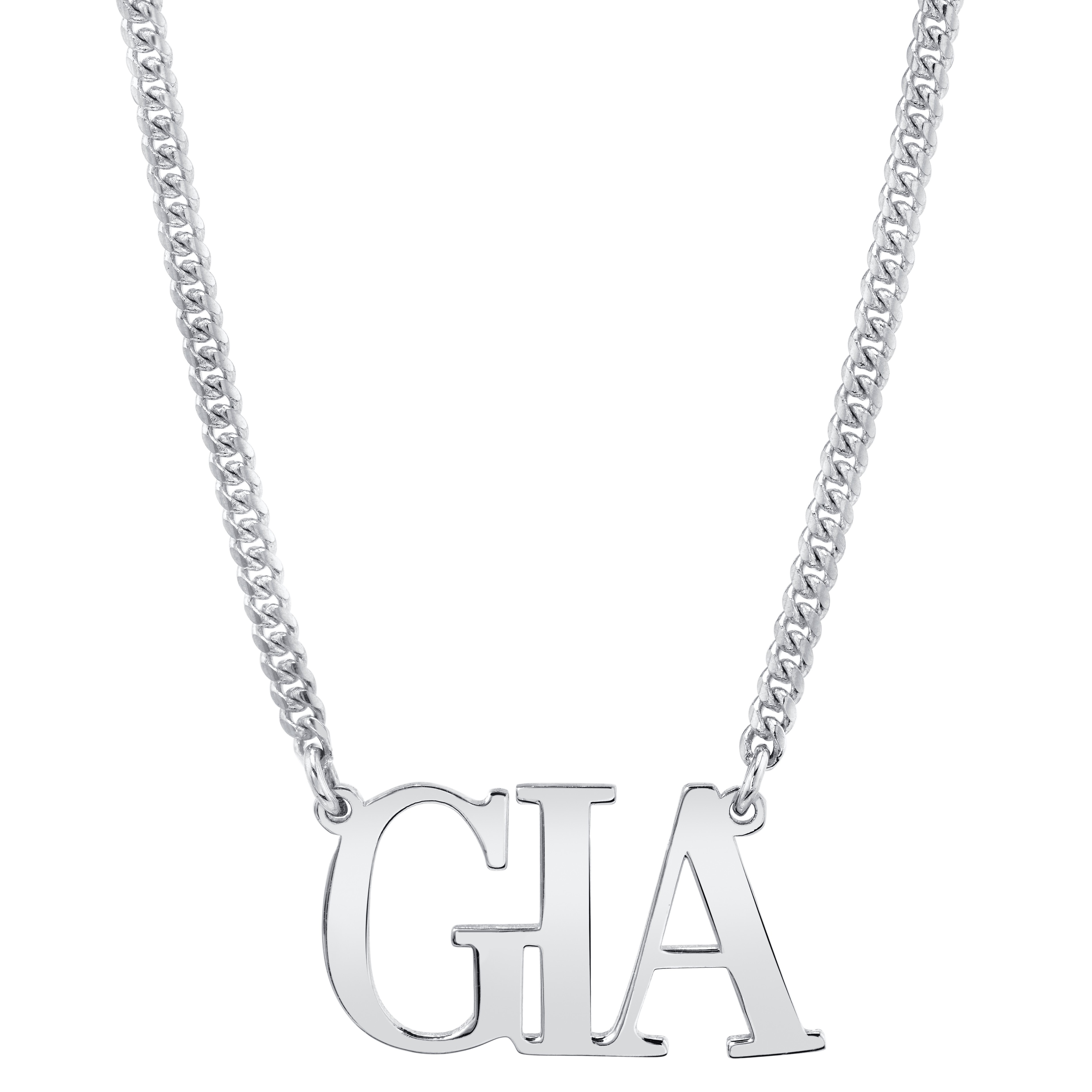 14k White Gold Personalized Mini Cuban Link Large Nameplate Necklace