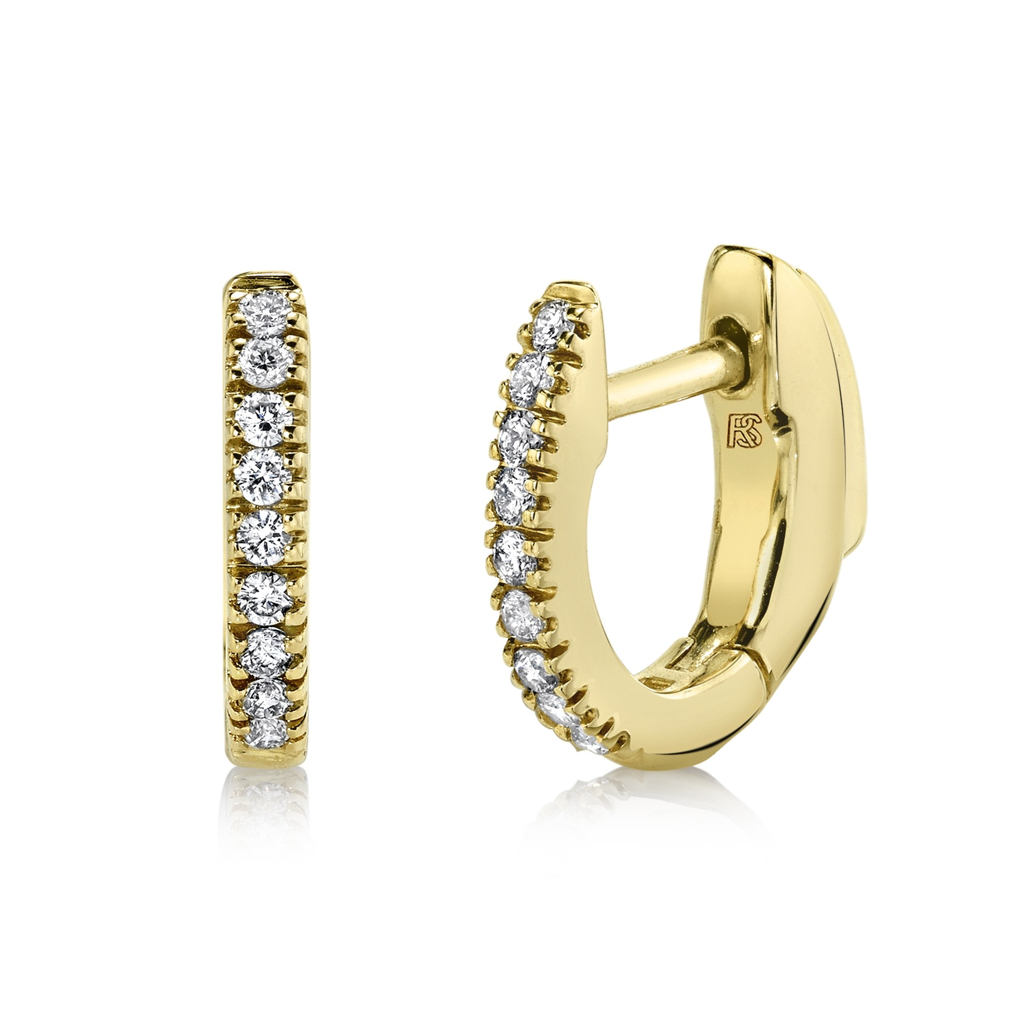 14K Yellow Gold Diamond Huggie Hoops with Security Latch