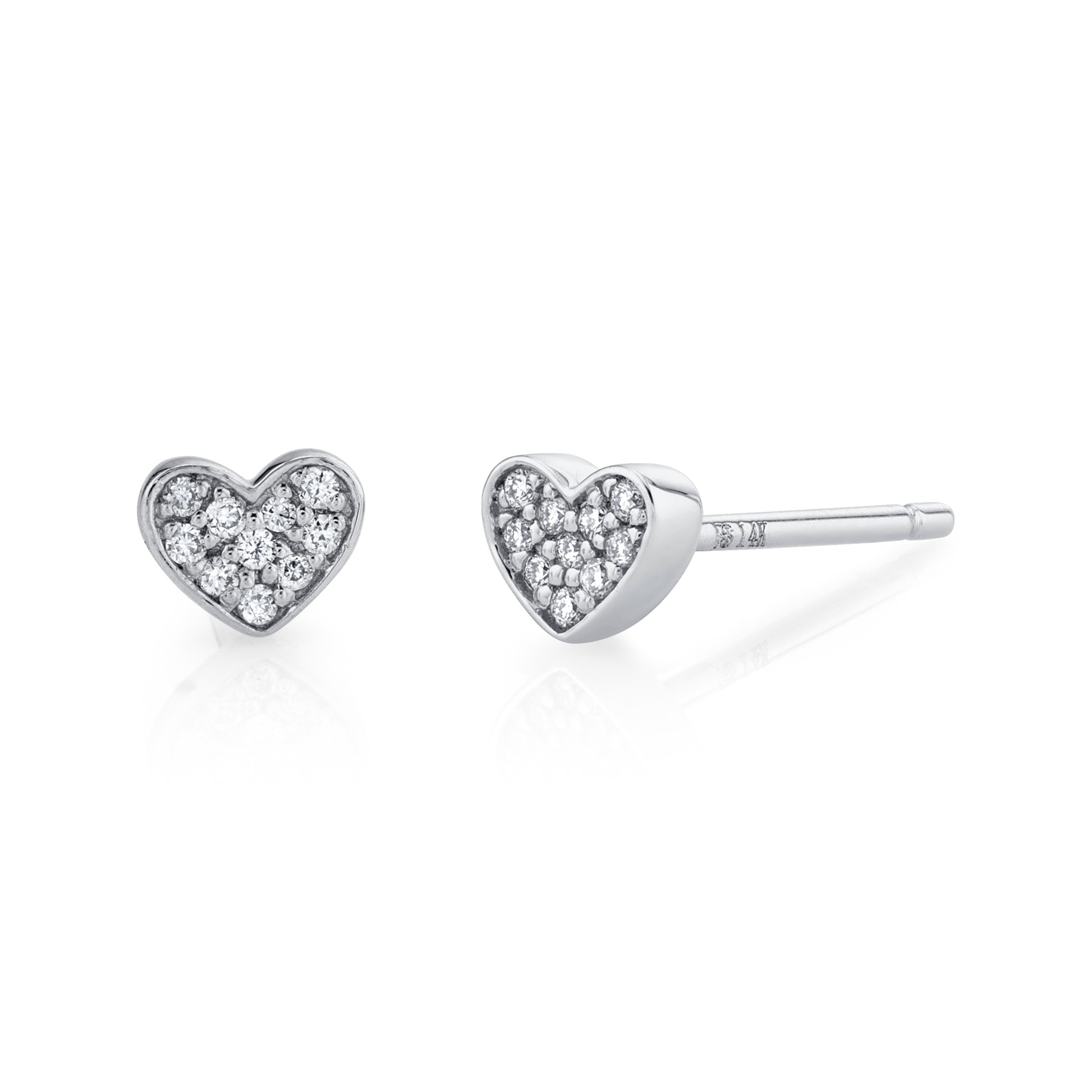 14k White Gold Heart Diamond Earrings