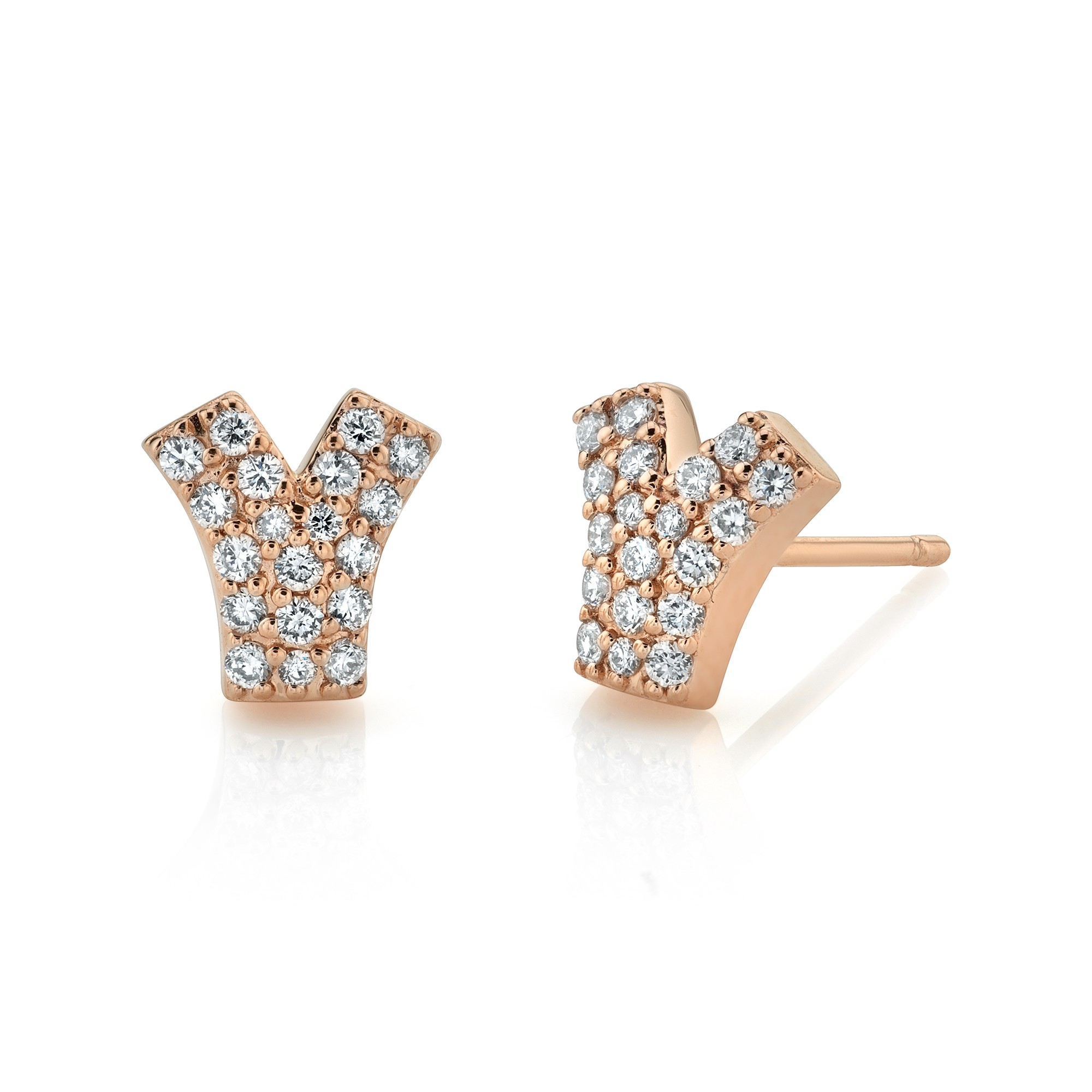 14k Rose Gold Diamond Y Earrings