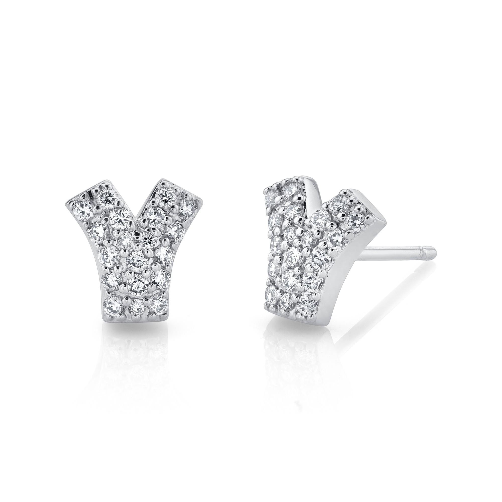 14k White Gold Diamond Y Earrings