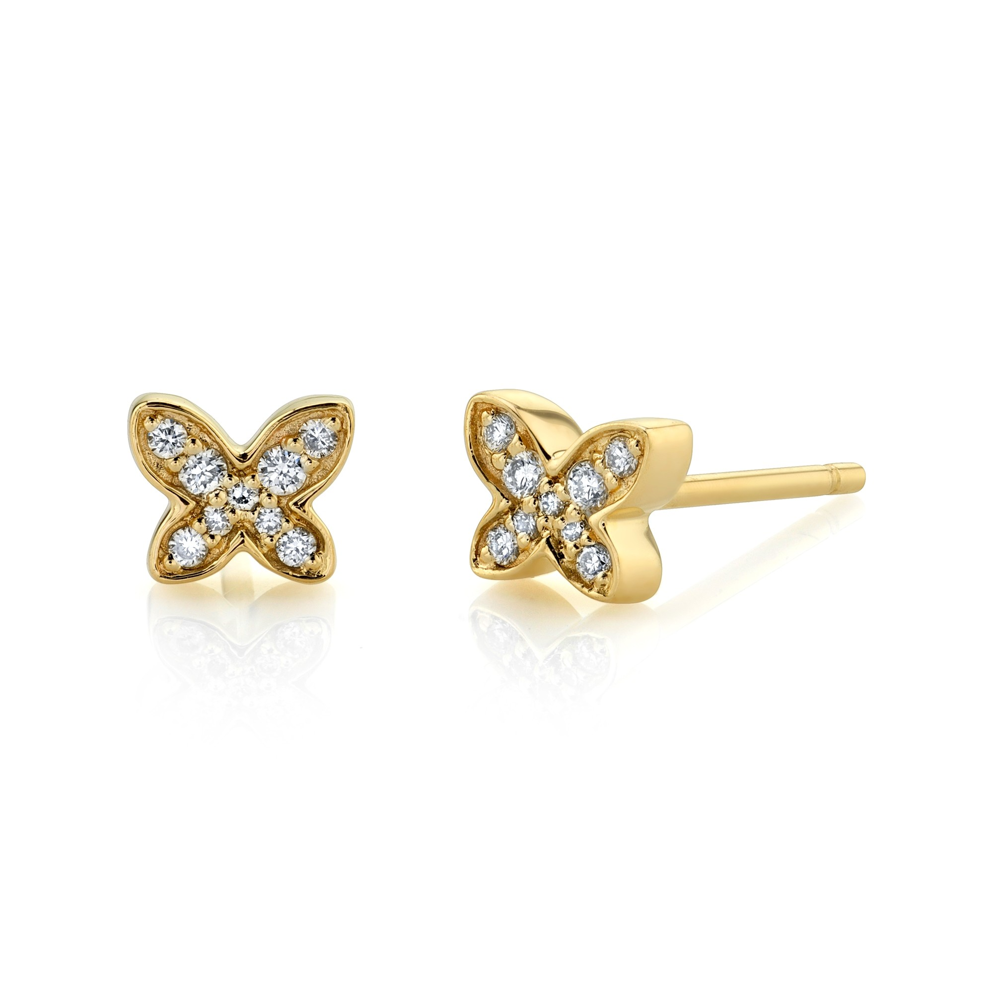 14k Yellow Gold Butterfly Diamond Earrings