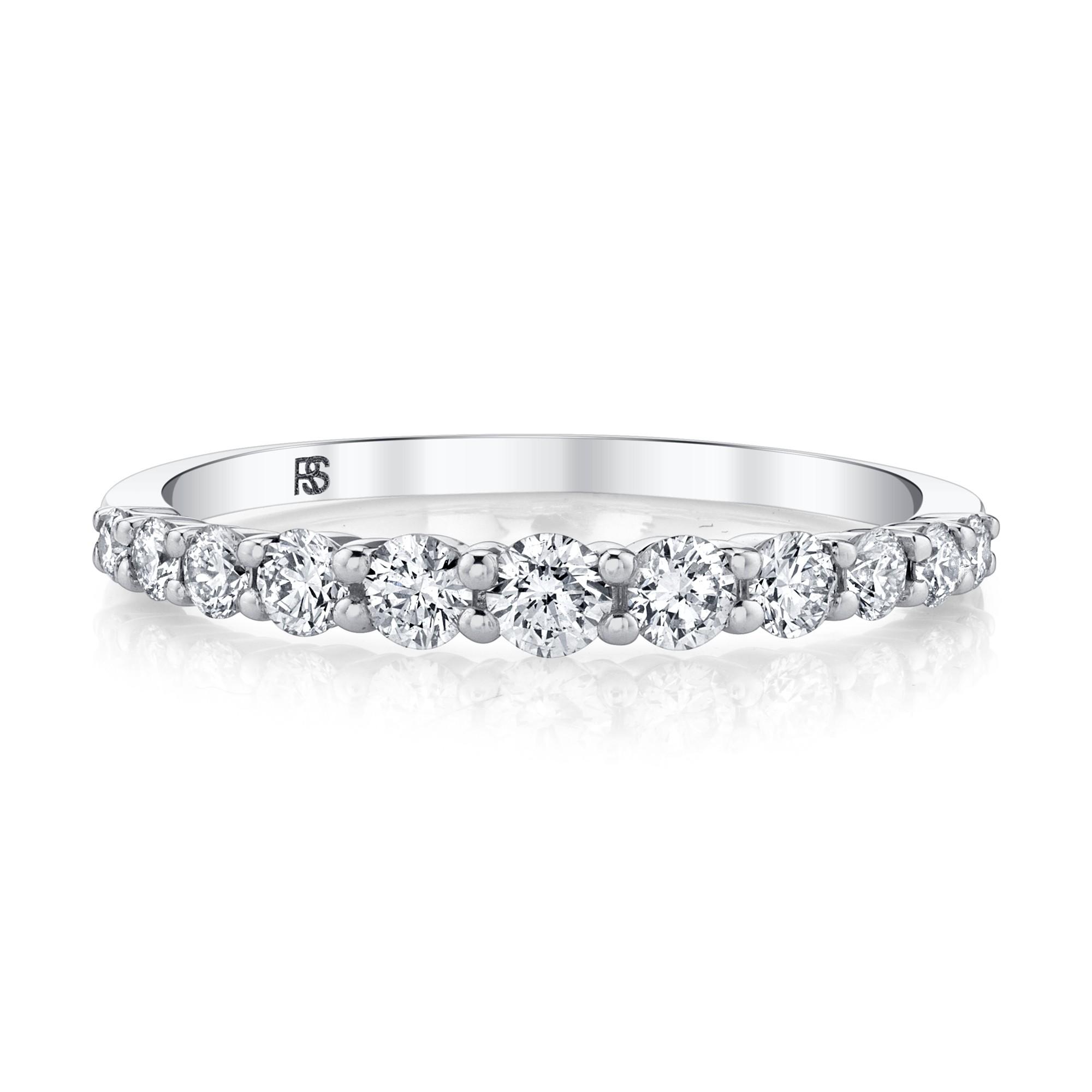 14k White Gold Diamond Graduated Ring