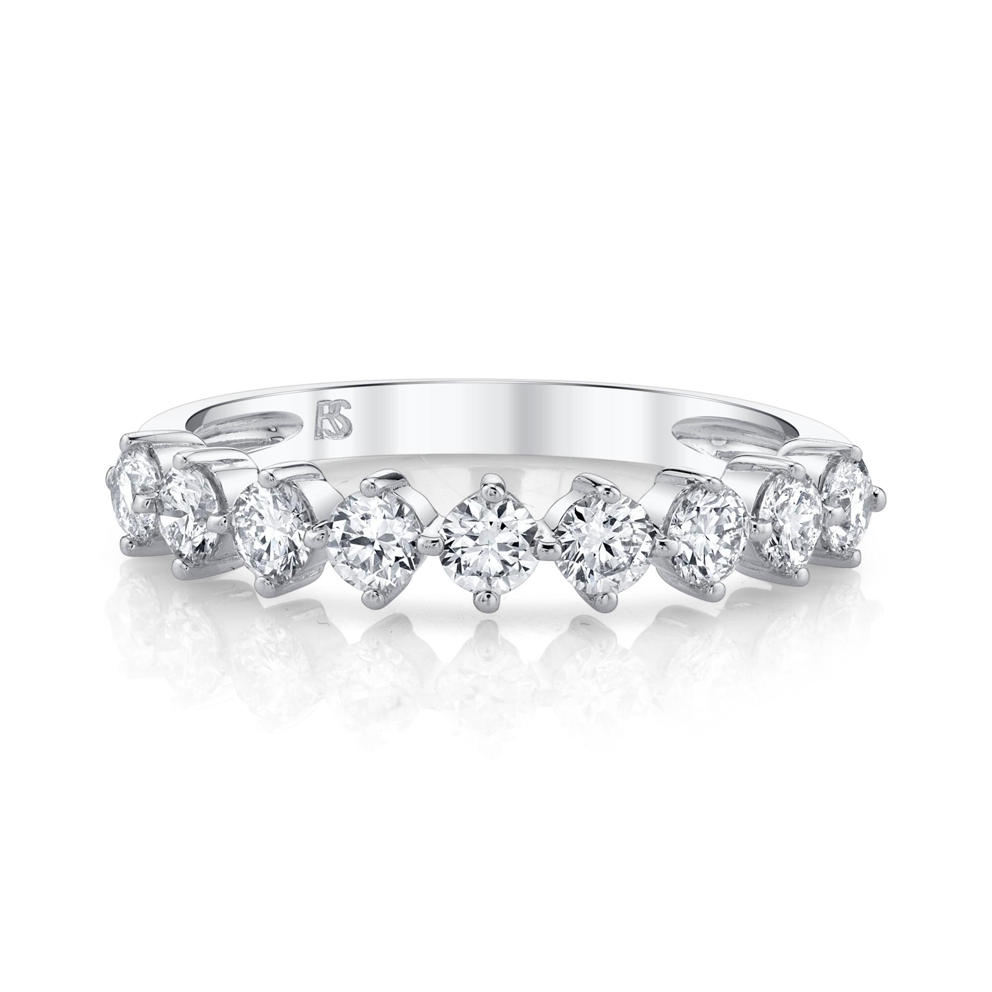 14k White Gold Diamond Compass Set Ring
