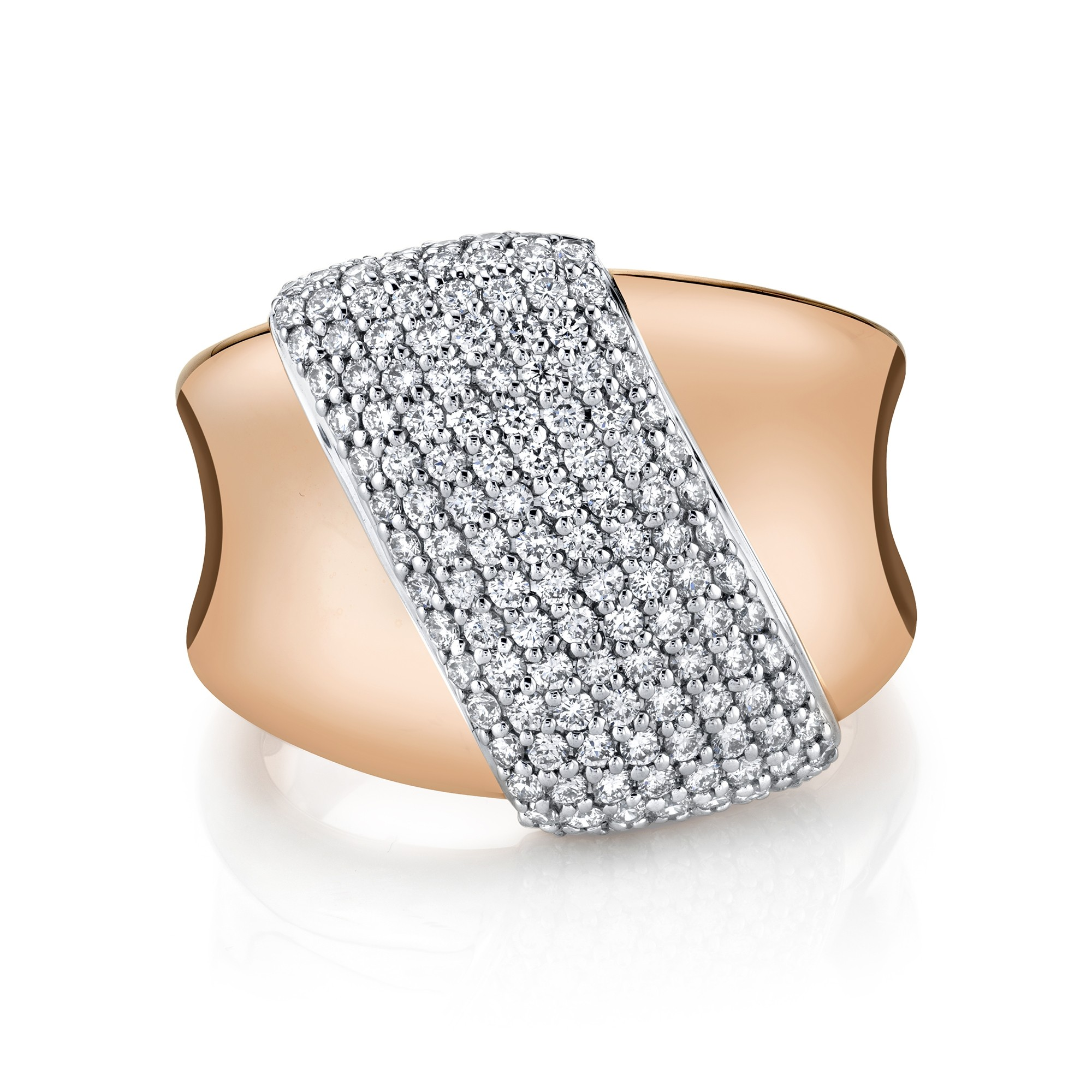 14k Rose Gold Diamond Pave Hourglass Ring
