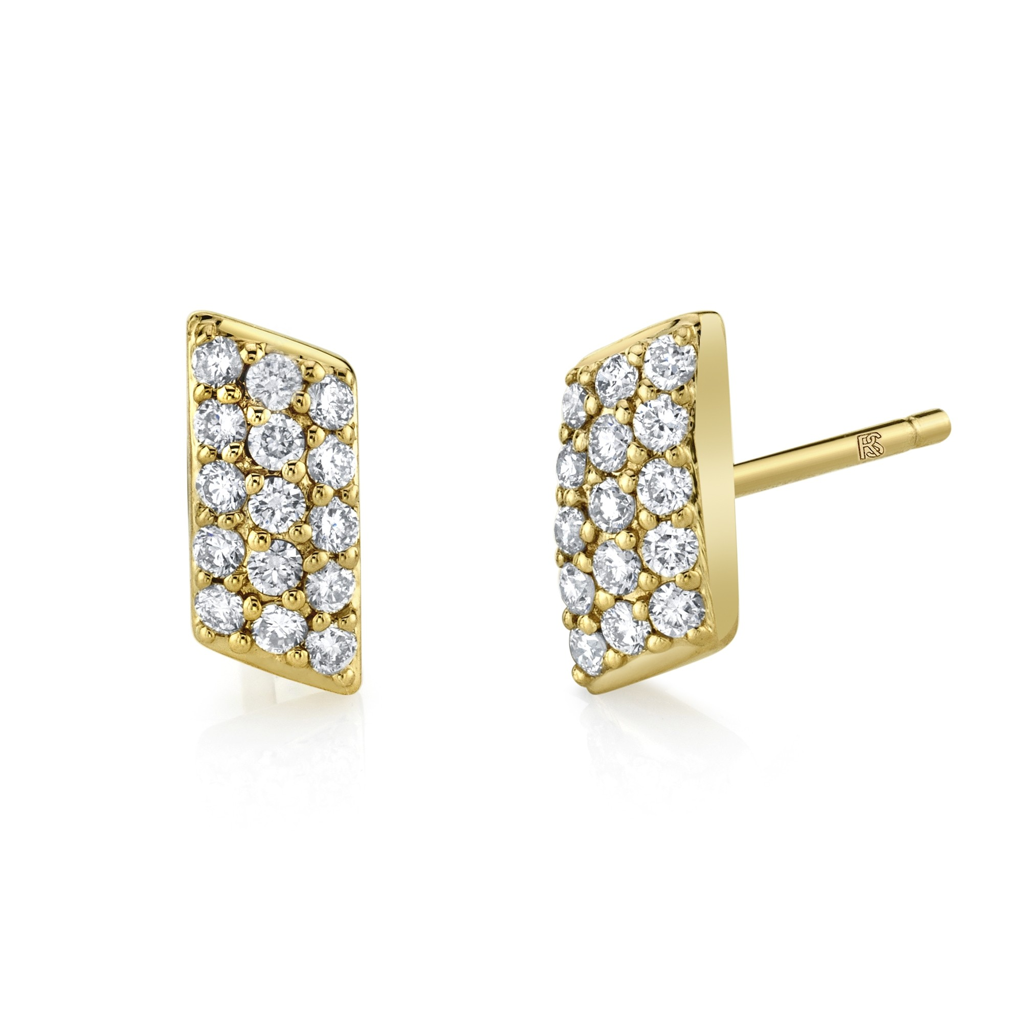 14k Yellow Gold Diamond Slant Bar Earrings