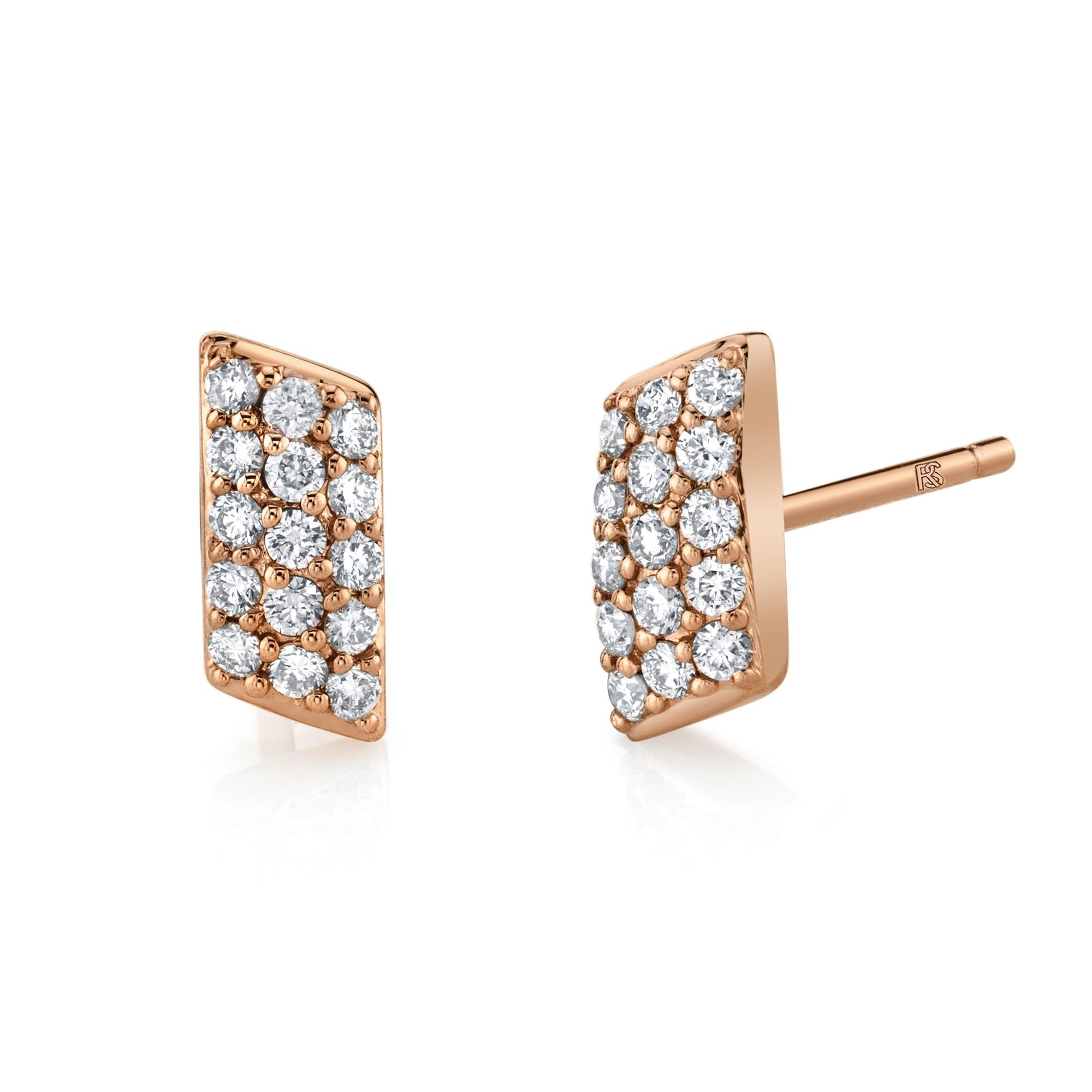 14k Rose Gold Diamond Slant Bar Earrings