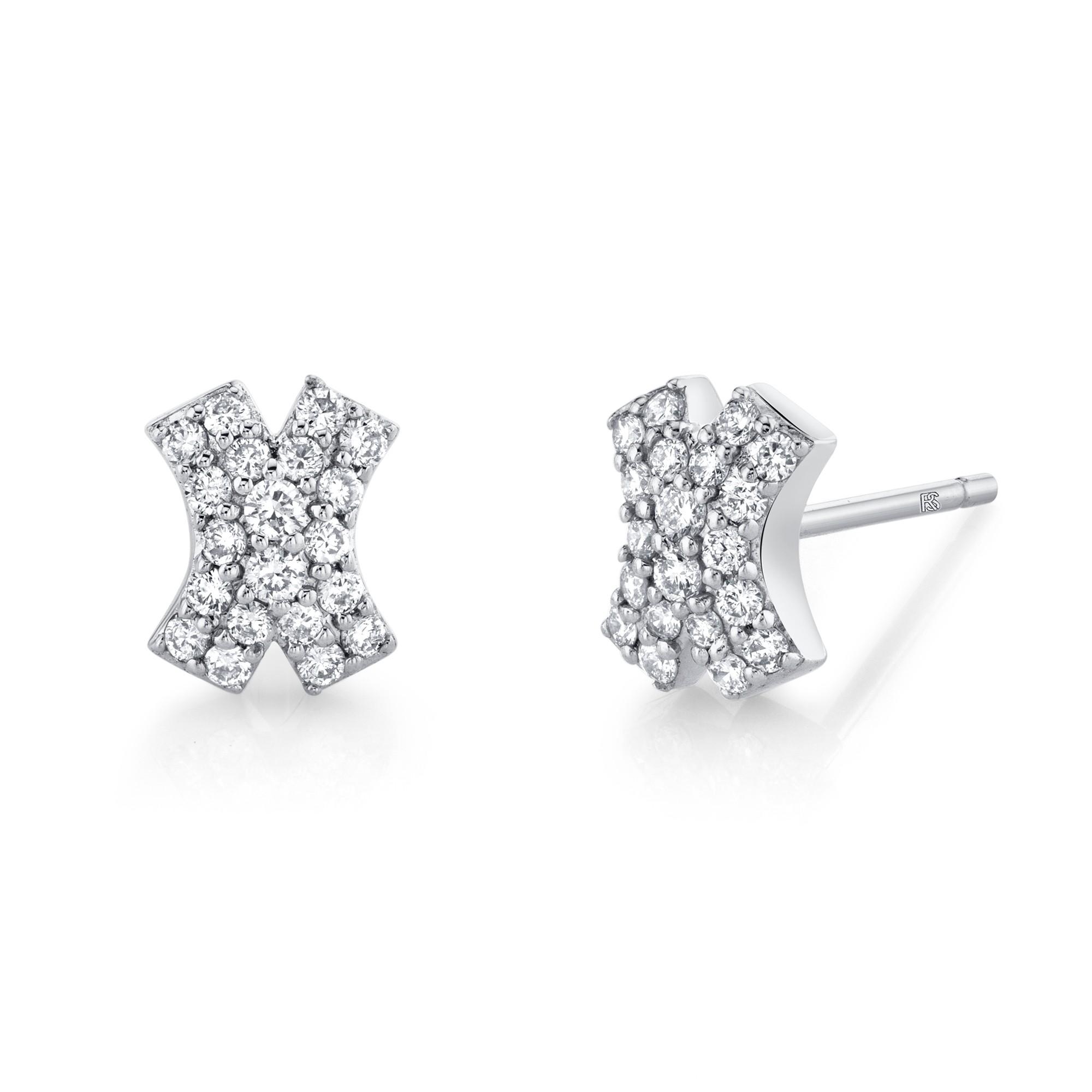 14k White Gold Diamond X Earrings