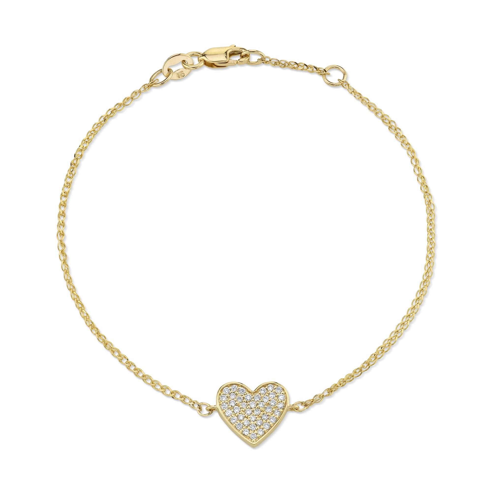 14k Yellow Gold Diamond Floating Heart Bracelet