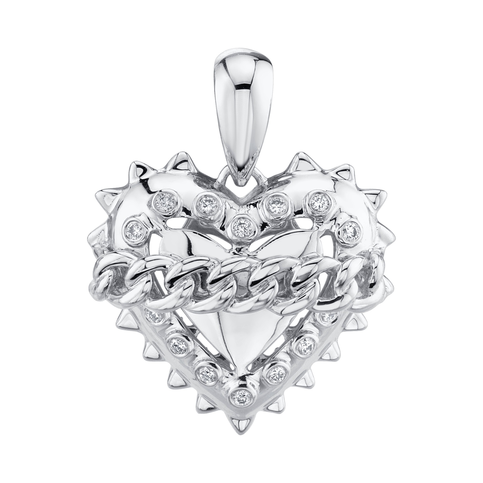 14k White Gold Chained Heart Charm
