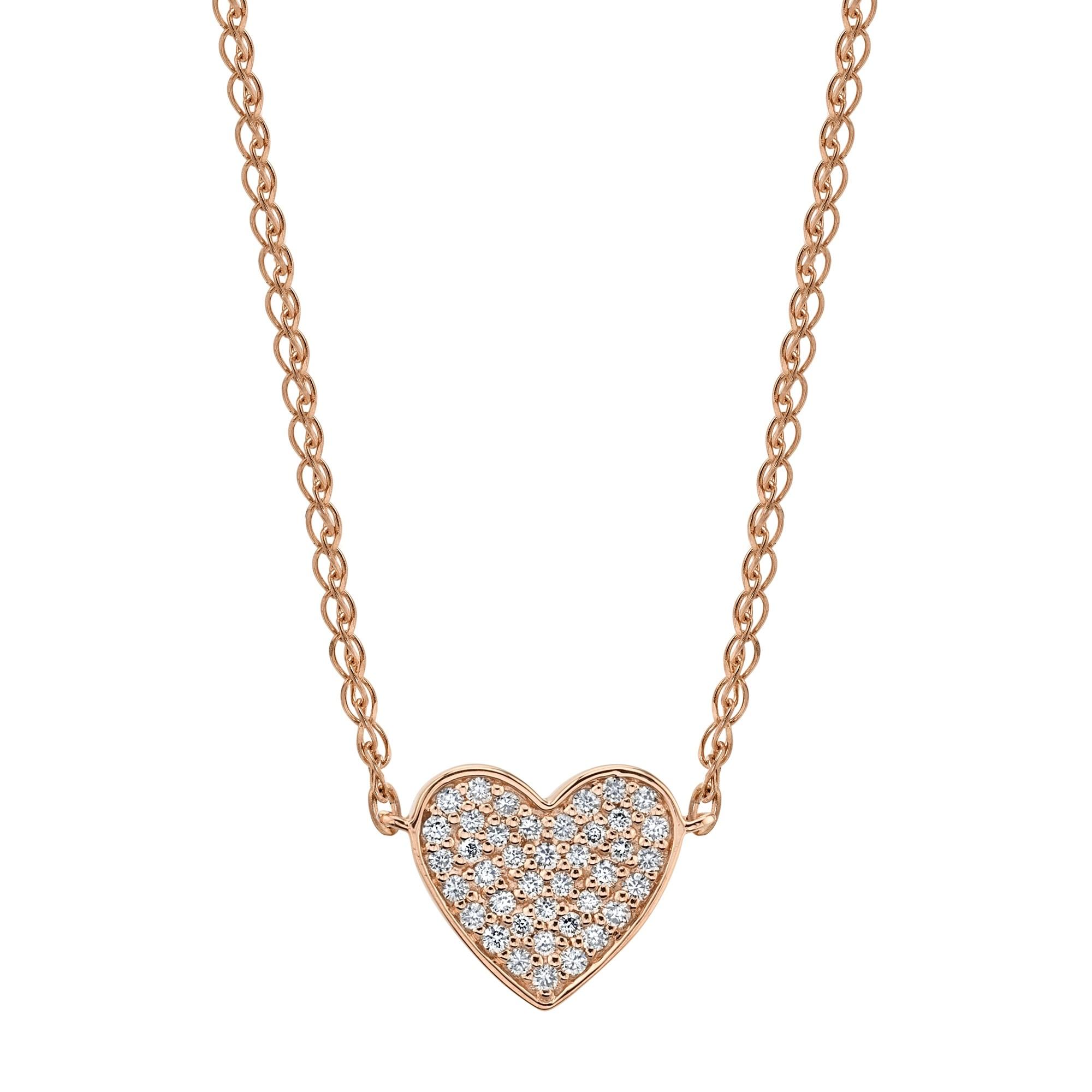 14k Rose Gold Diamond Floating Heart Necklace