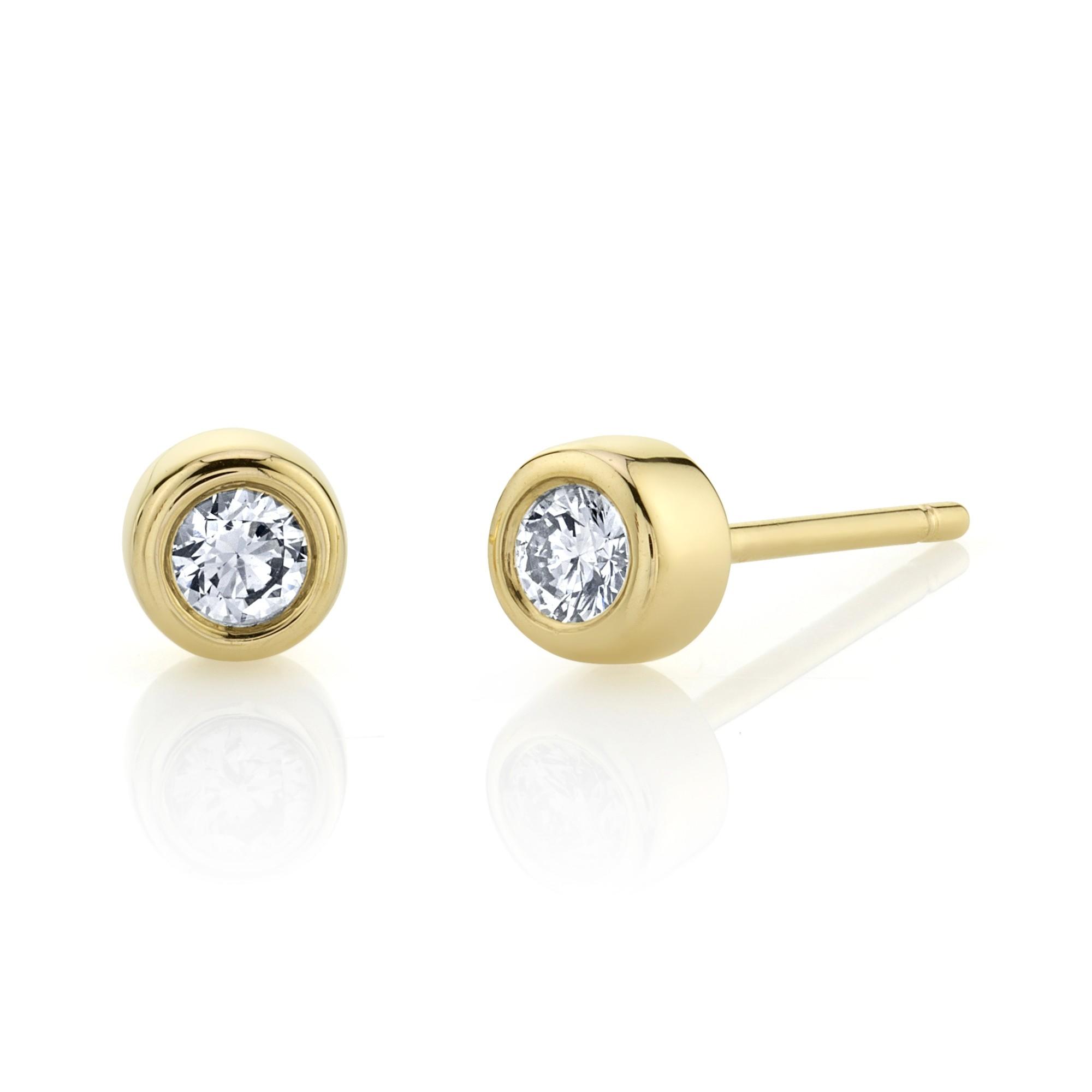 14k Yellow Gold Bezel Set Diamond Stud Earrings