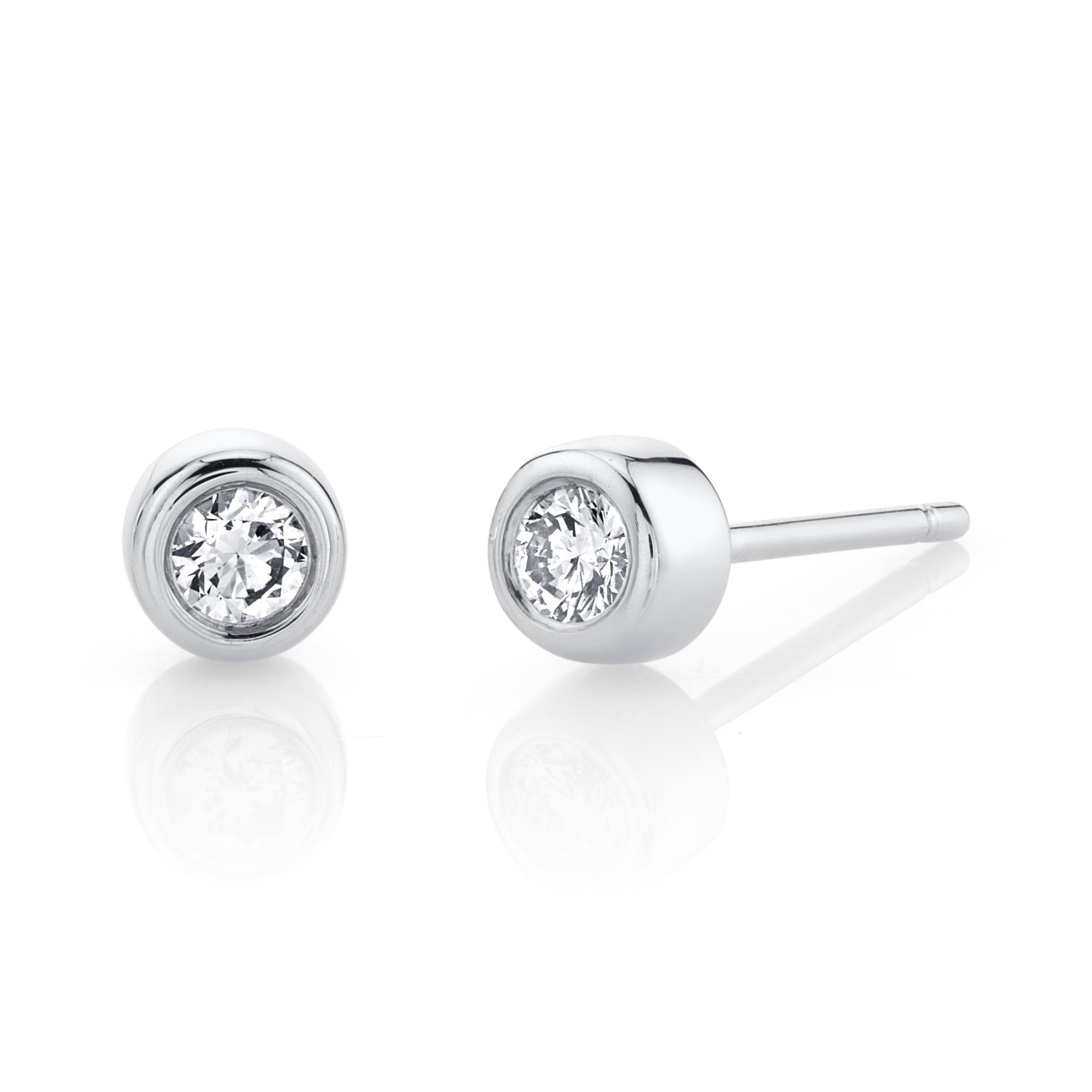 14k White Gold Bezel Set Diamond Stud Earrings