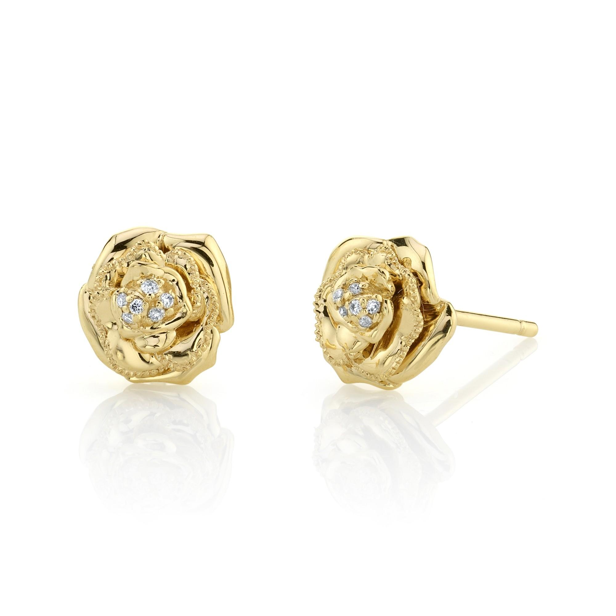 14k Yellow Gold Diamond Rose Earrings
