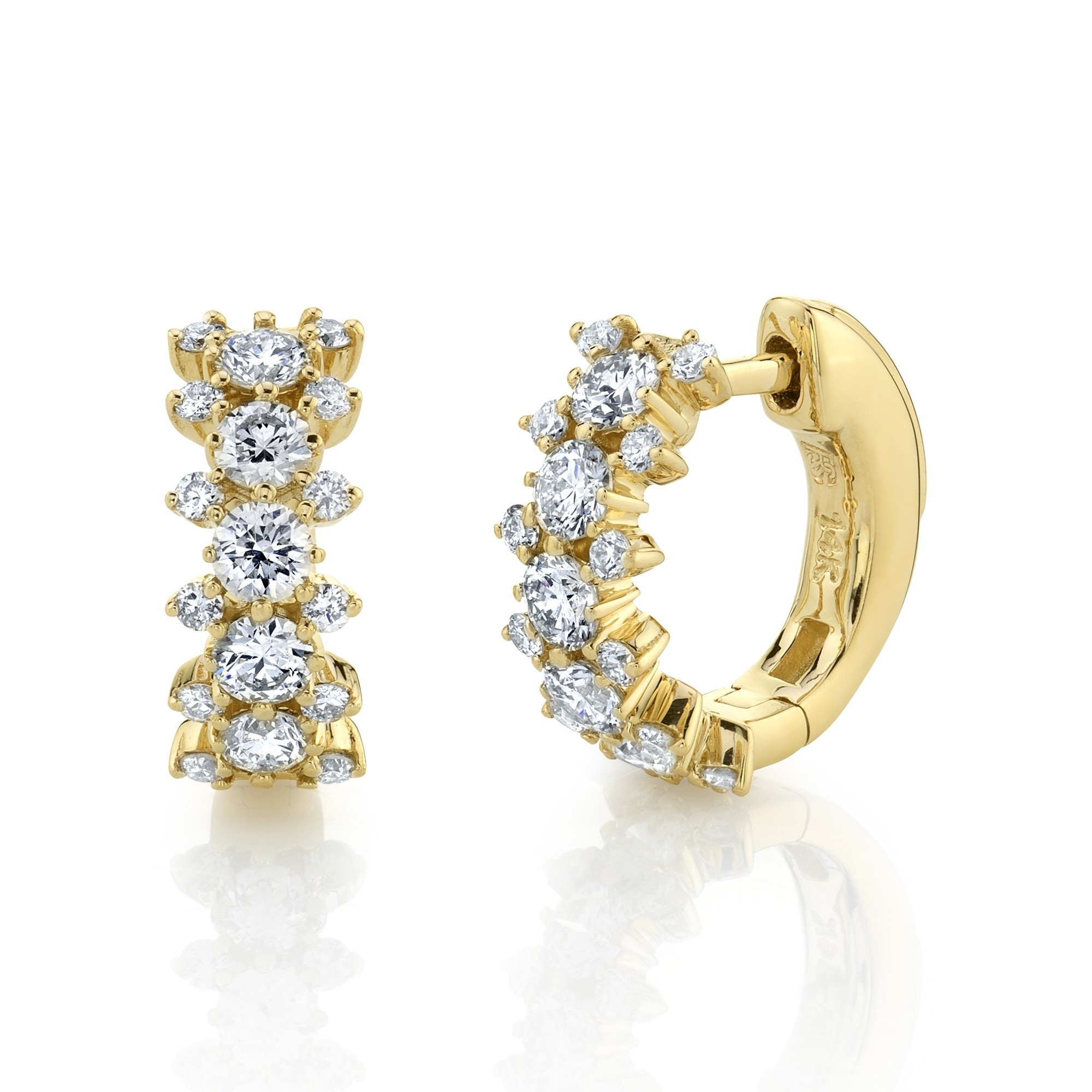 14k Yellow Gold 3 Row Diamond Huggie Hoops with Security Latch