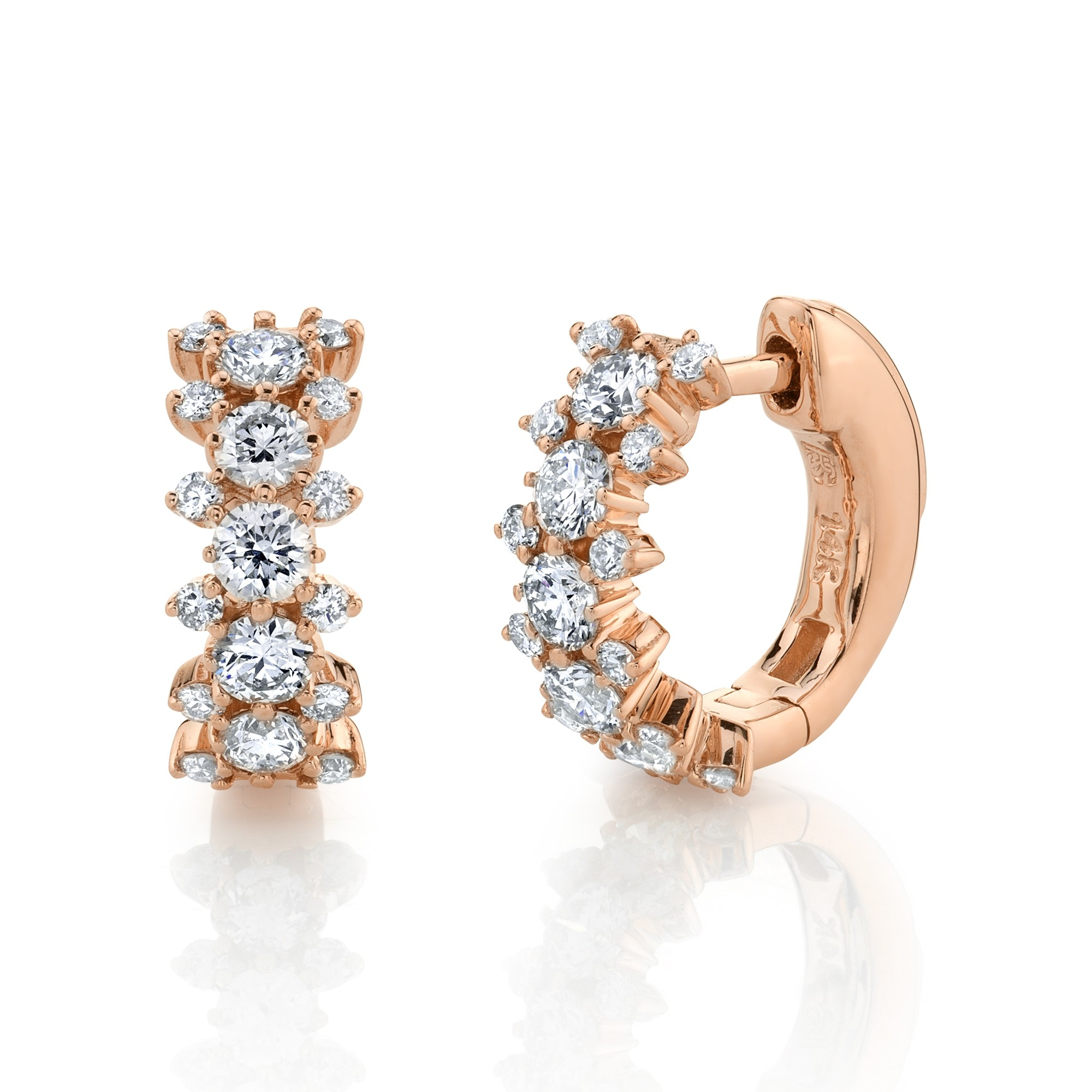 14k Rose Gold 3 Row Diamond Huggie Hoops with Security Latch