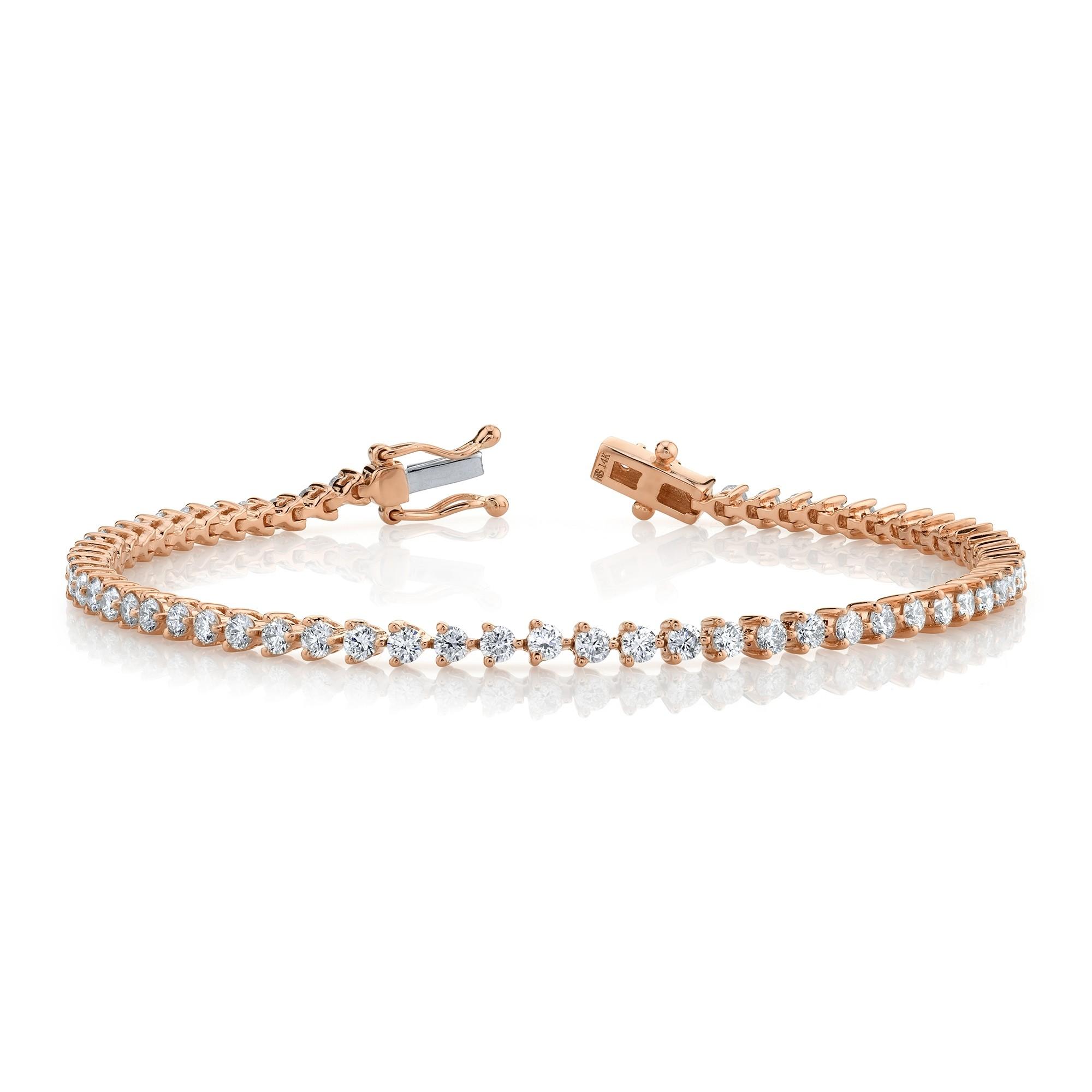 14k Rose Gold 3 Prong 2.5CT Diamond Tennis Bracelet