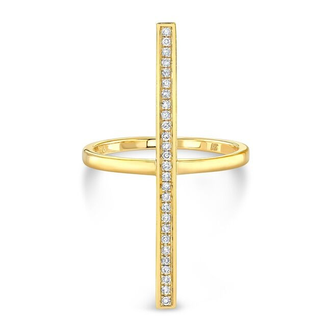 14k Yellow Gold Diamond Long Bar Ring