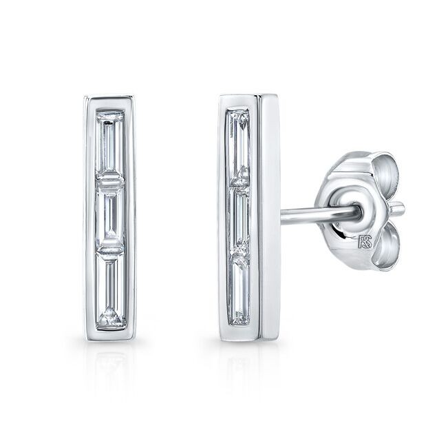 14k White Gold Diamond Baguette Bar Stud Earrings