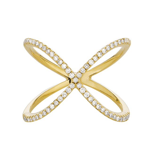 14k Yellow Gold Diamond Infinity X Ring