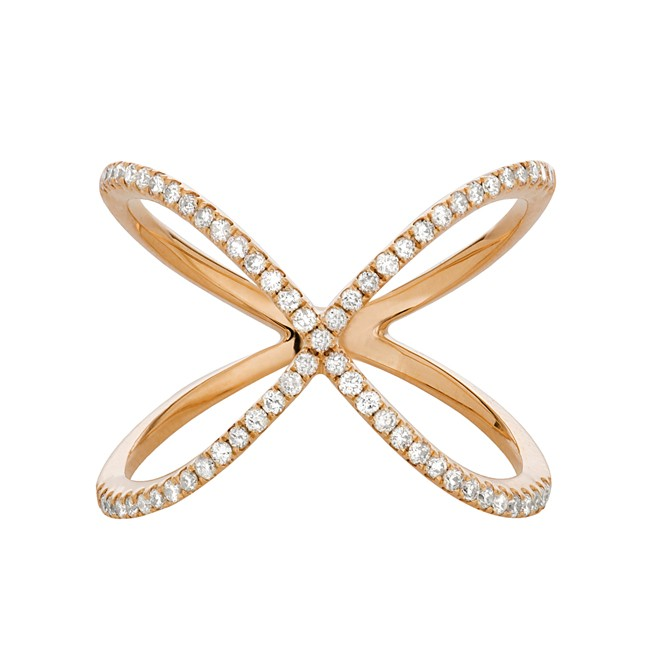 14k Rose Gold Diamond Infinity X Ring