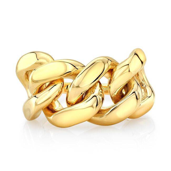 14k Yellow Gold Halfway Chain Cuban Link Ring