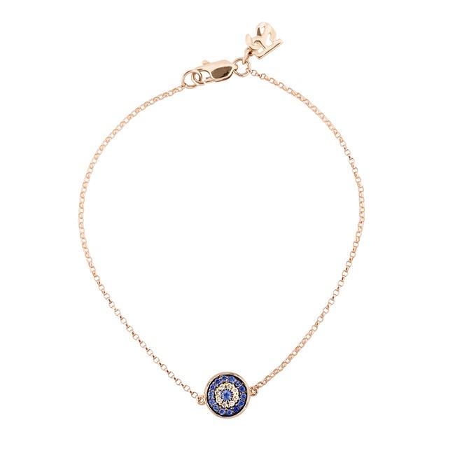 14k Rose Gold Diamond Sapphire Evil Eye Disc Bracelet