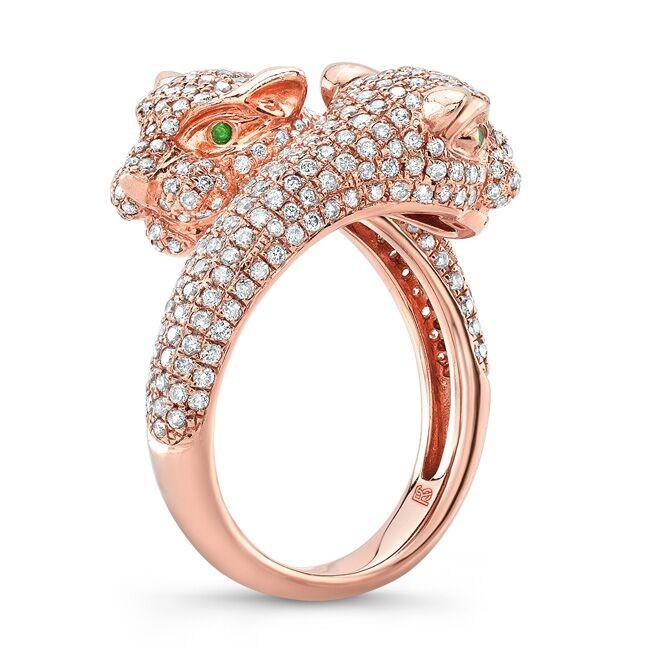14k Rose Gold Diamond Emerald Panther Ring