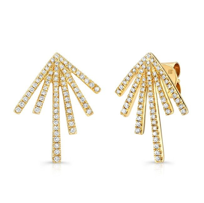 14k Yellow Gold Diamond Spike Burst Earrings