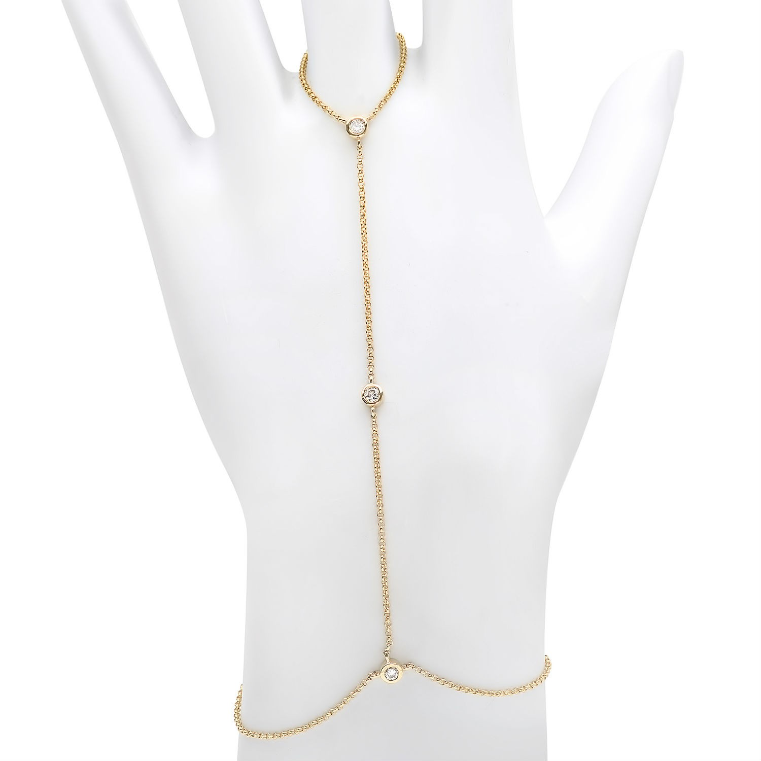 14k Yellow Gold Floating Diamond Hand Chain