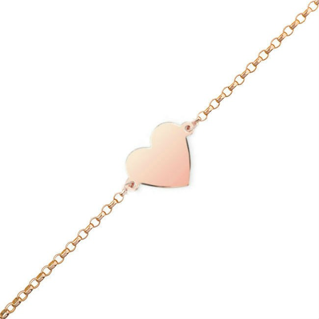 14k Rose Gold Floating Heart Anklet
