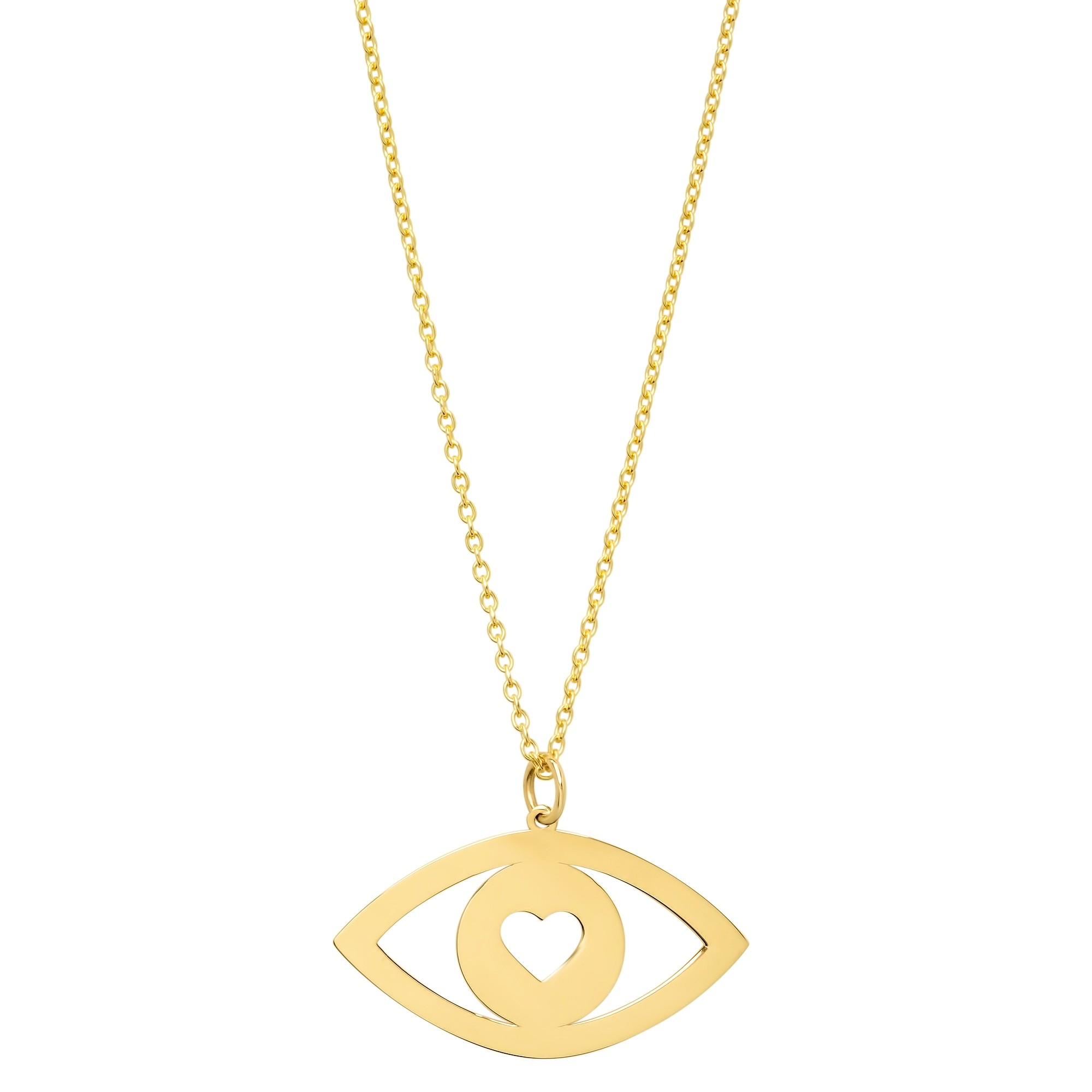 14k Yellow Gold Evil Eye Heart Necklace