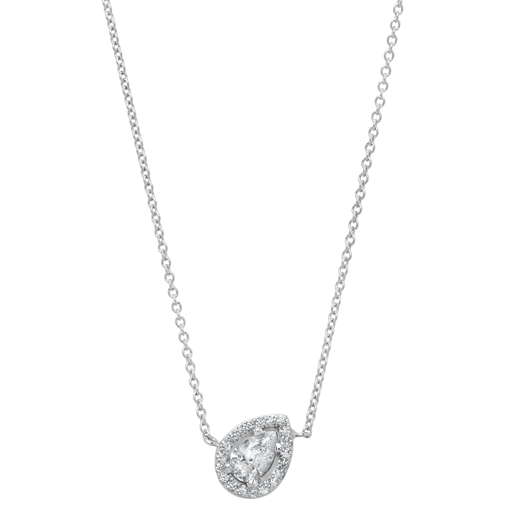 14k White Gold Diamond Halo Pear Necklace