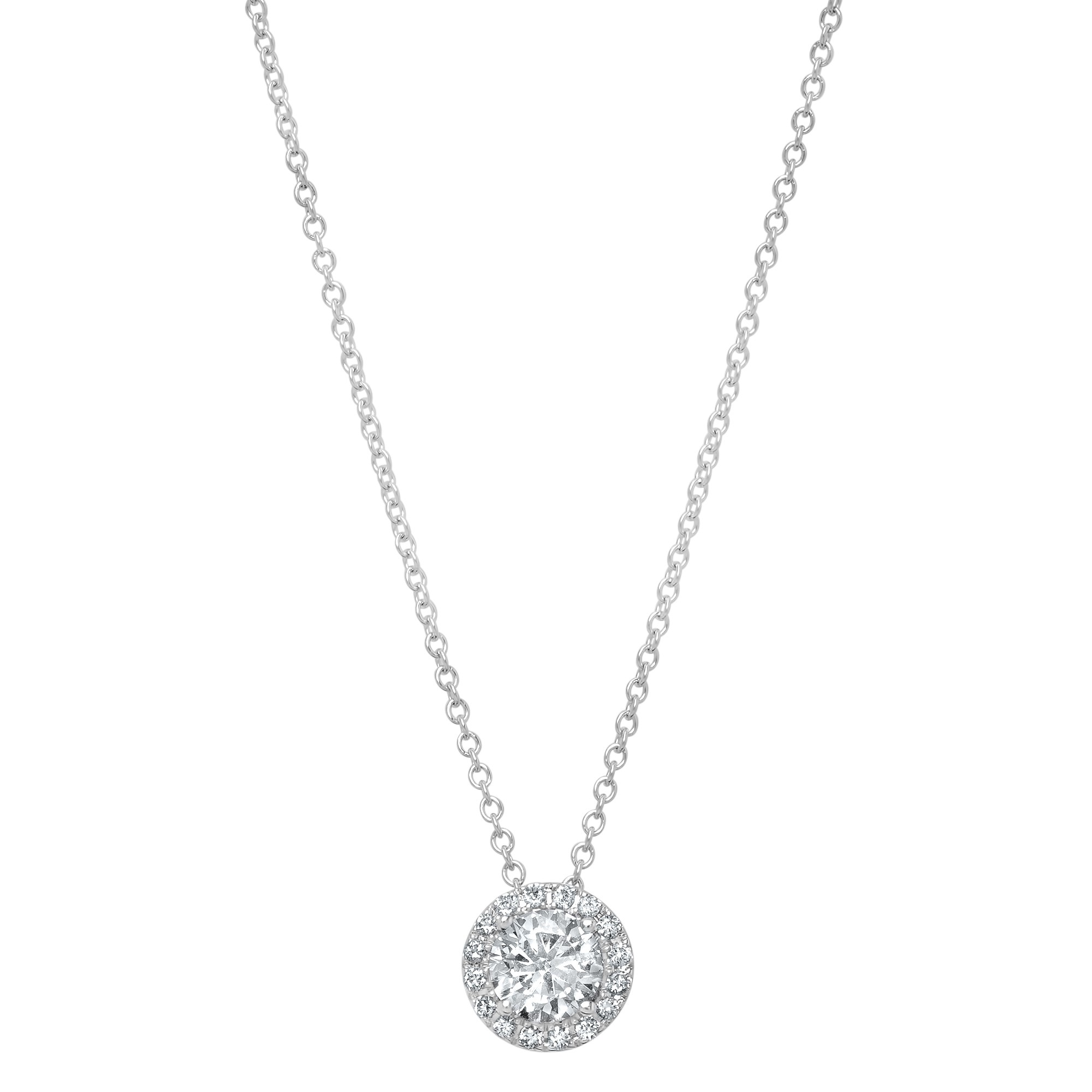 14k White Gold Diamond Halo Necklace