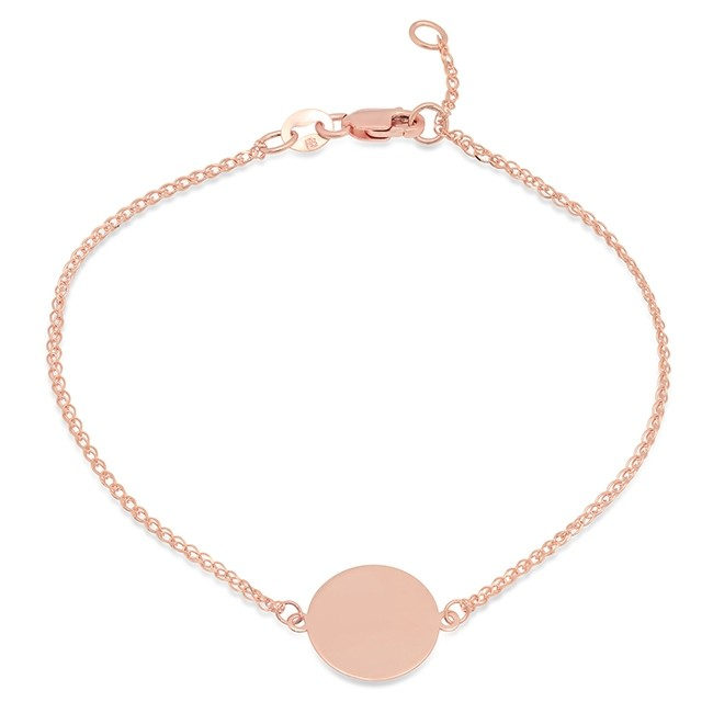 14k Rose Gold Disc Bracelet