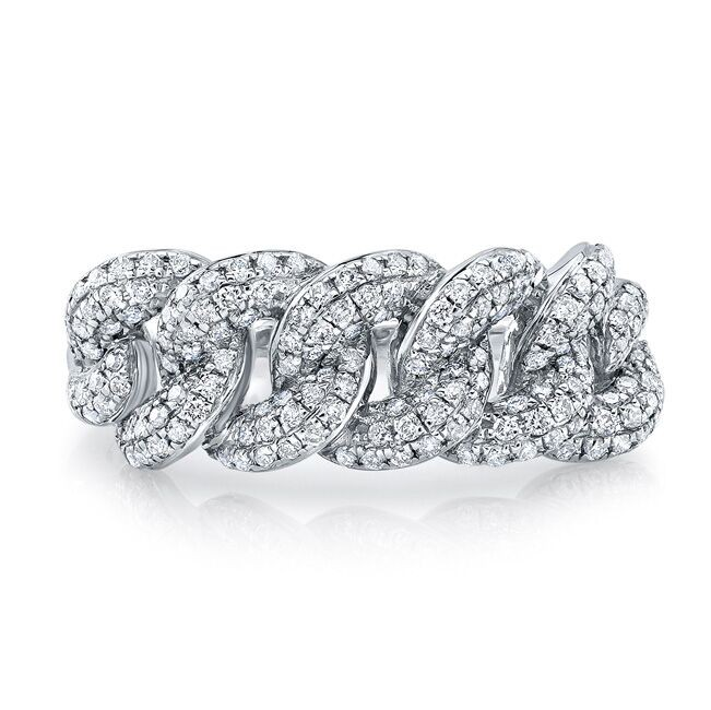 14k White Gold Pave Diamond Cuban Link Ring