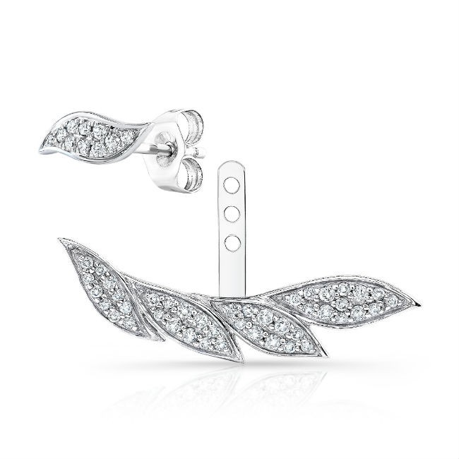14k White Gold Diamond Leaf Ear Jacket