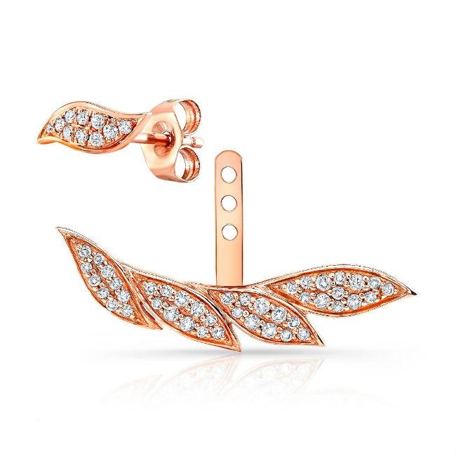 14k Rose Gold Diamond Leaf Ear Jacket