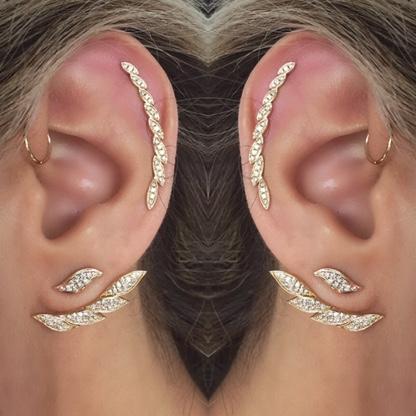 14k Rose Gold Diamond Leaf Ear Crawler Earring