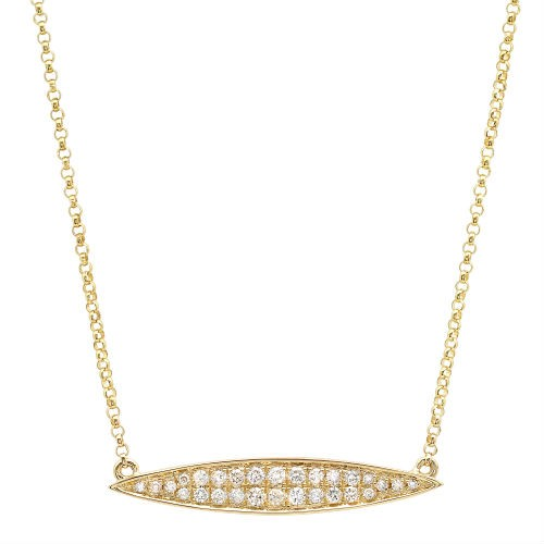 14k Yellow Gold Diamond Marquise Bar Necklace