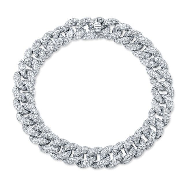 14k White Gold Pave Diamond Cuban Link Bracelet