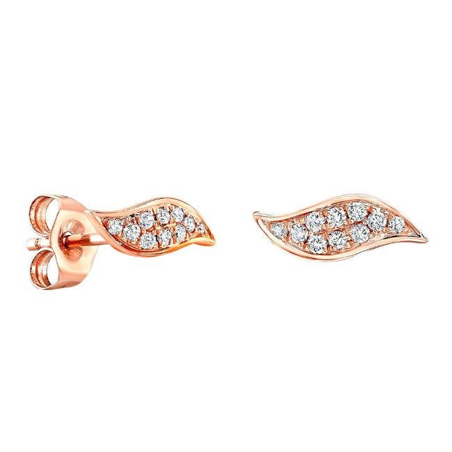 14k Rose Gold Diamond Wave Stud Earrings