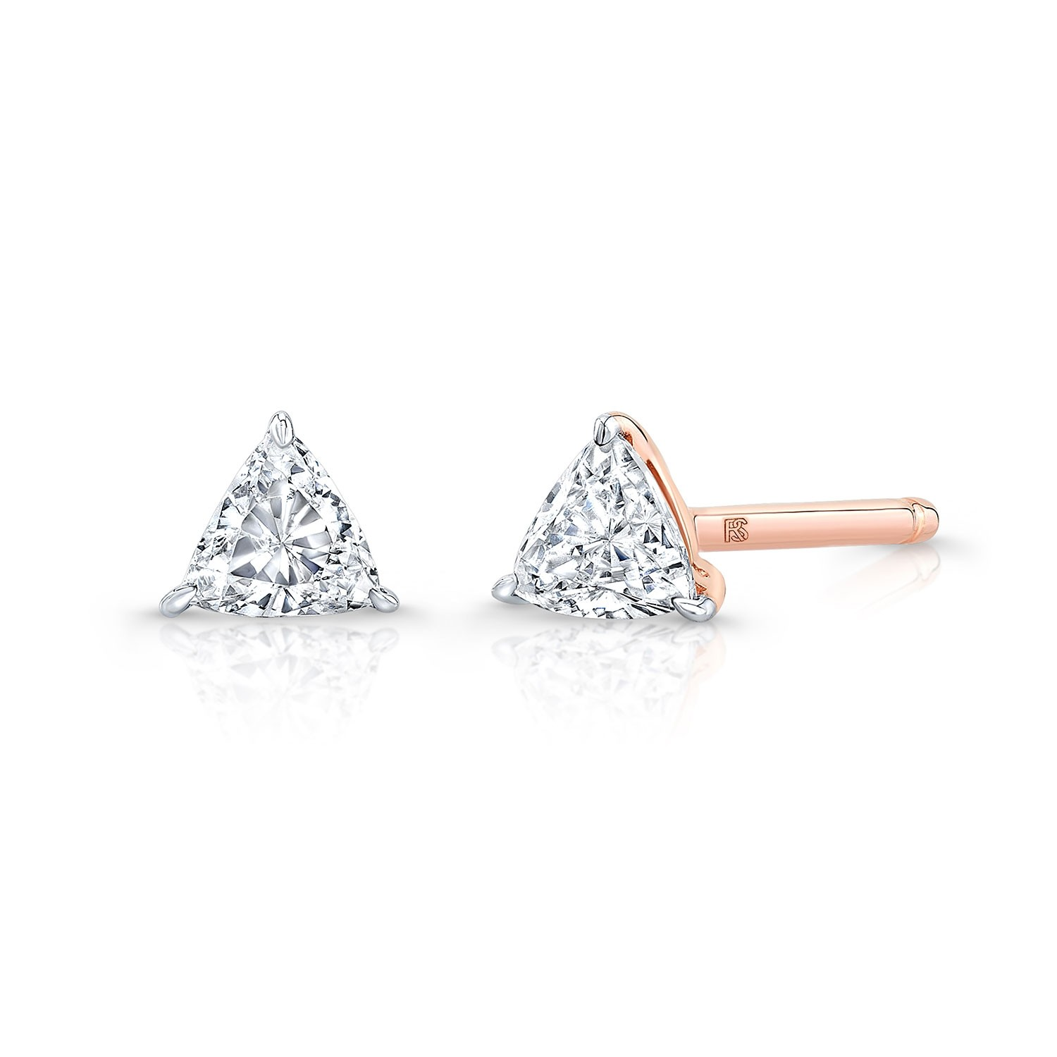 14k Rose Gold Floating Trillion Cut Diamond Stud