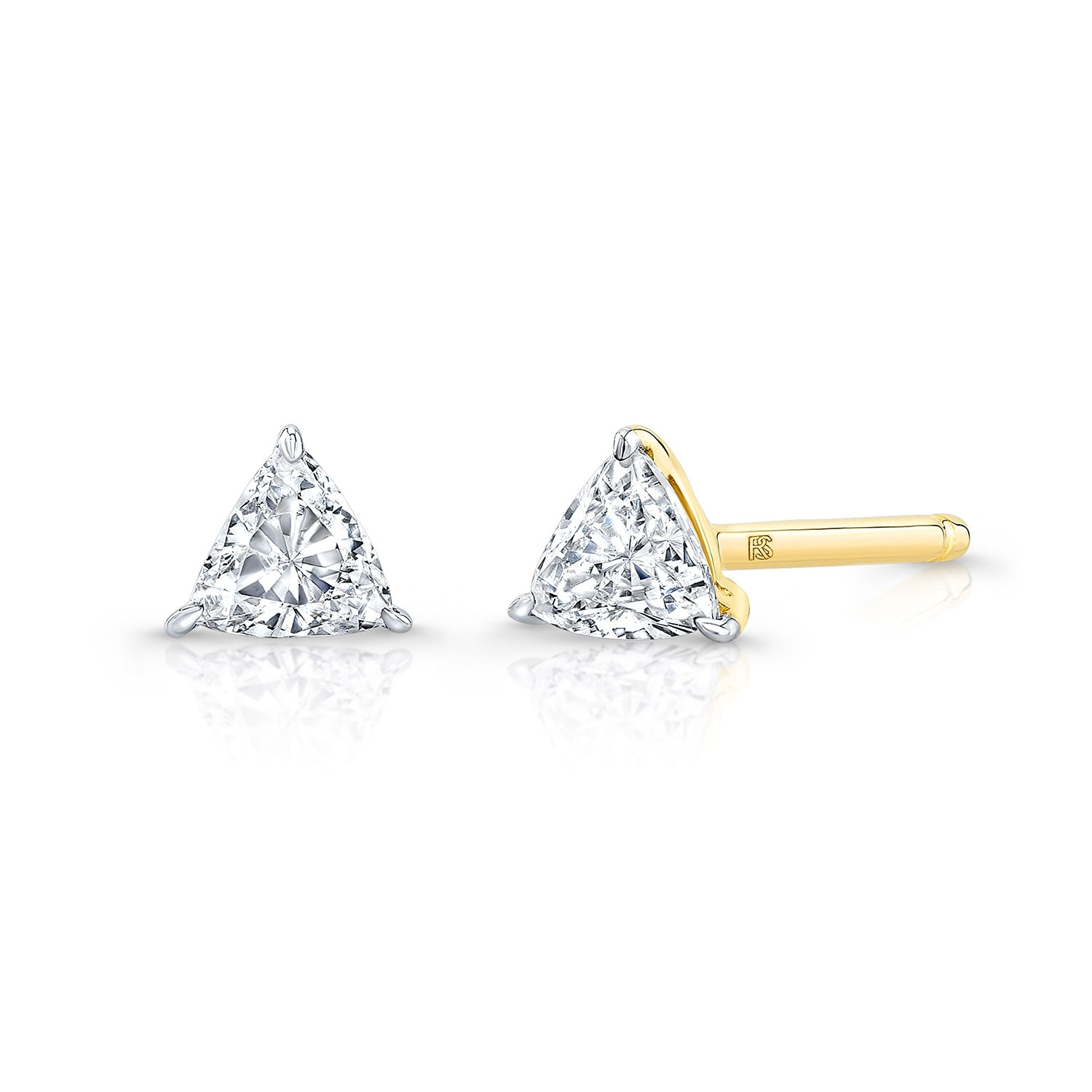 14k Yellow Gold Floating Trillion Cut Diamond Stud