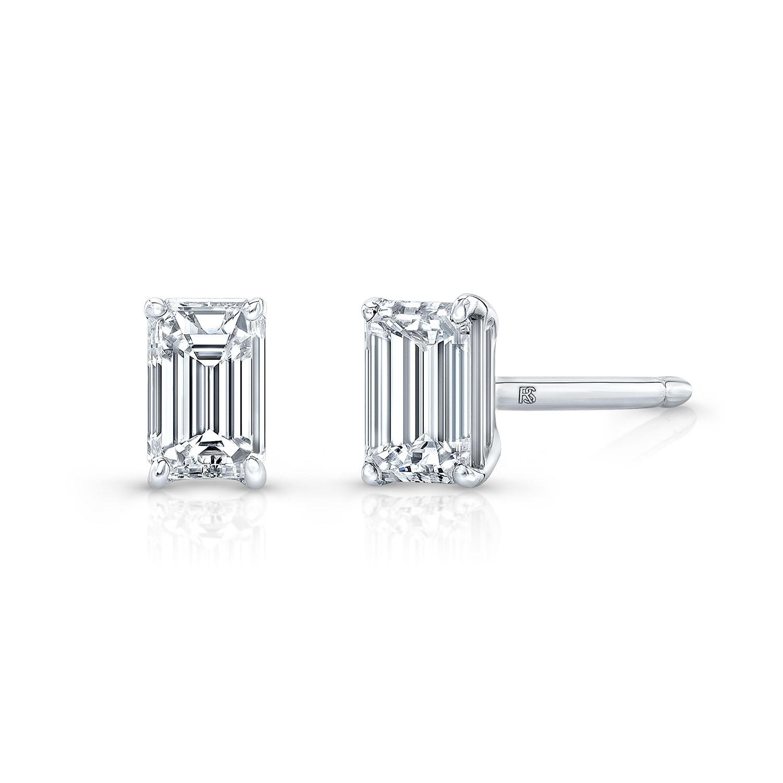 14k White Gold Floating Emerald Cut Diamond Stud