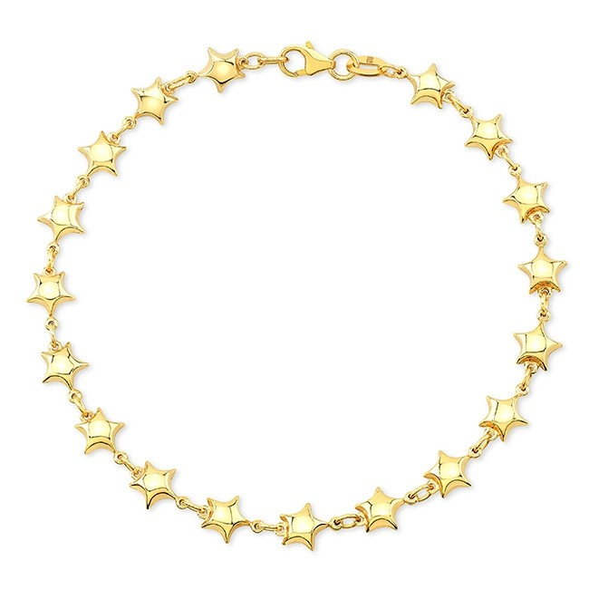 14k Yellow Gold Endless Puffed Star Bracelet